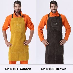 Ap 6101 Brown golden 36 Full Cowhide Leather Welding Bib Blacksmith Apron