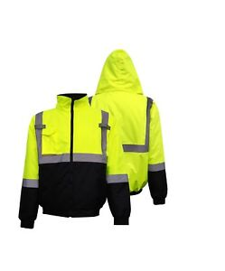 Hi Vis Class 3 Insulated Safety Bomber Winter Jacket With Hood Fleece Lined 18