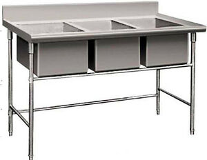 New Triple 3 Three Compartment Commercial Stainless Steel Sink Wash Basin Table