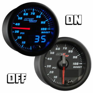 Maxtow 52mm Black And Blue Double Vision 100 Psi Turbo Boost Gauge Mt Bdv01100