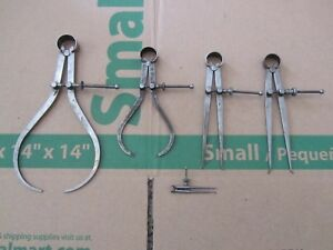Vintage Starrett Calipers Inside Outside Lot Of 5 Antique Old