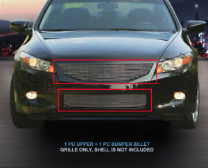Billet Grille Front Combo Grill 2 Pcs For 2008 2010 Honda Accord Coupe