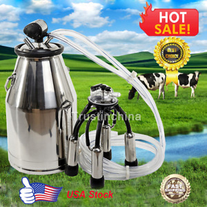 Stainless Milking Machine Portable Dairy Cow Milkerbucket Tank Barrel Cattle Us