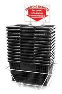 12 Standard Shopping Baskets Chrome Handles Metal Stand And Sign Black
