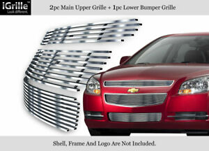 Fits 2008 2012 Chevy Malibu Stainless Steel Billet Grille Insert Combo