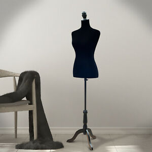 Homcom Dress Form Female Mannequin Torso Dressmaker Stand Display W Base Black