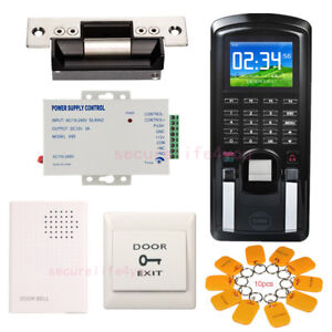 Color Lcd Biometric Fingerprint Access Control Kit Ansi Strike Lock Power Supply