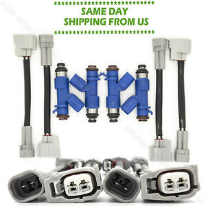 4x New 410cc Fuel Injectors W Plug Play Adapters For Honda Civic Acura Rdx Us