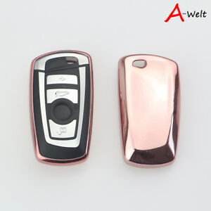 Pink Tpu Remote Smart Key Cover Fob Case Shell For Bmw 1 3 5 6 7 Series X3 X5