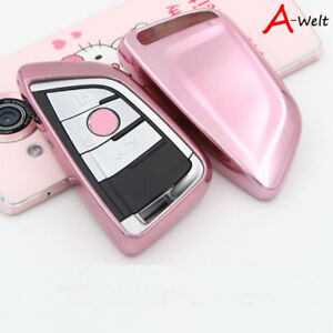 Pink Tpu Remote Smart Key Cover Fob Case Shell For Bmw 1 2 5 7 Series X1 X5 X6