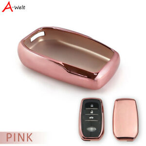 Pink Tpu Remote Smart Key Cover Case Shell For Toyota Corolla Camry Crown Etc