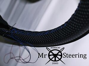Perforated Leather Steering Wheel Cover For Jaguar Xke 61 75 R Blue Double Stch