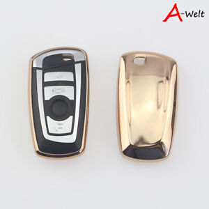 Gold Tpu Remote Smart Key Cover Fob Case Shell For Bmw 1 3 5 6 7 Series X3 X5