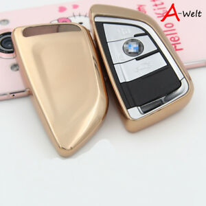 Gold Tpu Remote Smart Key Cover Fob Case Shell For Bmw 1 2 5 7 Series X1 X5 X6