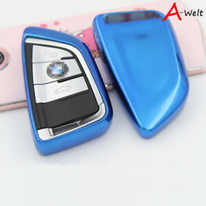 Blue Tpu Remote Smart Key Cover Fob Case Shell For Bmw 1 2 5 7 Series X1 X5 X6