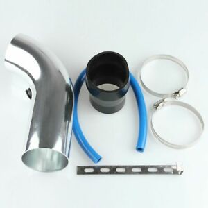 3 Car Cold Air Intake Induction Pipe Filter Tube System Aluminum Silver New