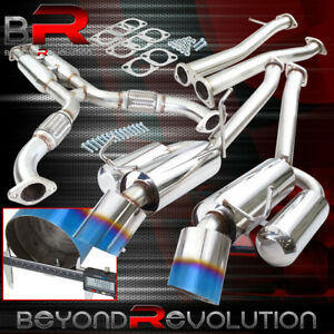 For 2003 2009 Nissan 350z Fairlady Z33 Dual 4 5 Dual Burnt Tip Catback Exhaust