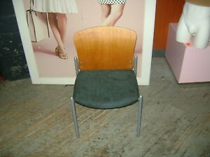 Upholstered Office Lobby Stackable Wood Back Metal Frame Chairs Set 8