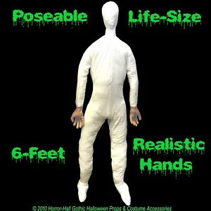 Life Size Stuffed Posable Mannequin Display Dummy Halloween Costume Prop Man 6ft