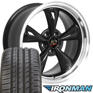 18x9 Black Wheels And Tires Fit Ford Mustang Bullitt Style Rim W ironman
