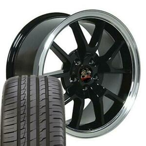 18x9 Black Wheels And Tires Fit Ford Mustang Fr500 Style Rims W ironman Tire