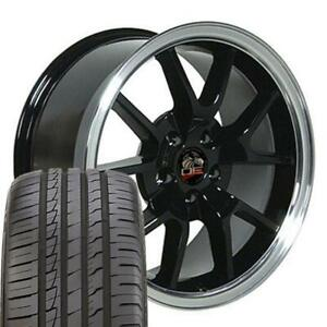 18x9 Rims Tires Fit Mustang Fr500 Style Black Wheels Ironman Tires