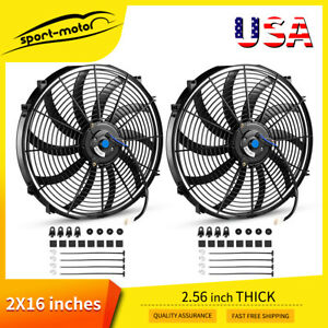 2pc 16 Inch Pull Push Electric Radiator Fan 12v Engine Cooling Universal 120w