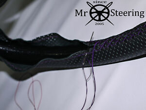 For Daimler Consort Perforated Leather Steering Wheel Cover Purple Double Stitch