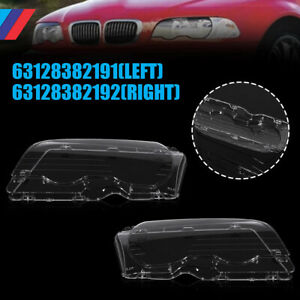 Pair Clear Headlight Lens Cover L r Replacement For Bmw E46 99 03 2dr 01 06 M3