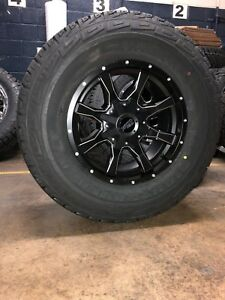 Mo970 17x9 Black Milled Wheels Rims At Tires Package 5x5 33 Jeep Wrangler Jk