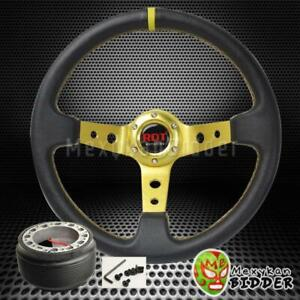 Black gold 350mm Deep Dish Steering Wheel Hub Adapter W horn Integra 90 93 Da