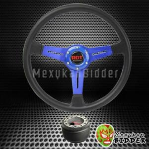 350mm Black Blue Pu Racing Deep Dish Steering Wheel Hub Adapter Toyota Scion