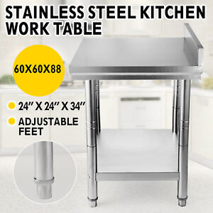 24 x24 Stainless Steel Work Prep Table With Backsplash Kitchen Food Nsf Hot