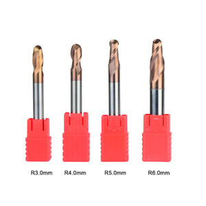 Radius 3mm 6mm Ball Nose Carbide End Mill Set Tiain Coat 2 Flute Cnc Cutting Bit
