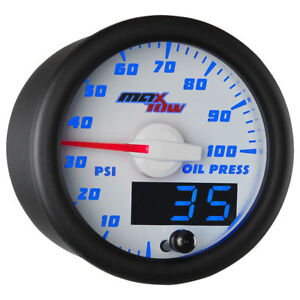 Maxtow 52mm White Blue Double Vision Oil Pressure Gauge Mt wbdv04