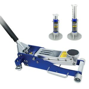 Jackco 3 Ton Low Profile Aluminum Racing Floor Jack With Aluminum Jack Stands