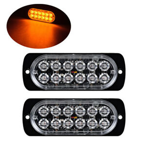 2x Amber 12led Car Truck Emergency Beacon Warning Hazard Flash Strobe Light