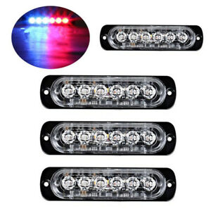 4pc 6 Led Light Flash Emergency Car Vehicle Warning Strobe Flashing Red Blue