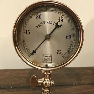 Vintage Standard Gauge 75psi Test Solid Brass Industrial Steampunk 4 5