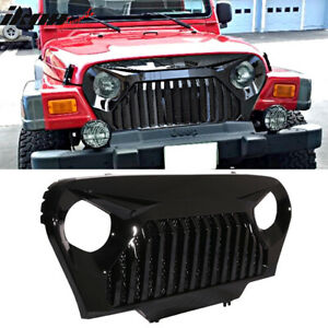 Fits 97 06 Jeep Wrangler Tj V2 Top Fire Style Grille Gloss Black Abs