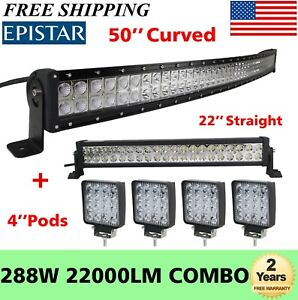 50inch Curved Led Light Bar 22in 4 Cree Pods Offroad Suv Atv Ford Jeep 52