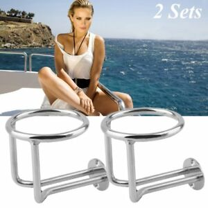2 X Boat Ring Cup Holder Stainless Steel Ringlike Drink For Marine Yacht Ship Hm