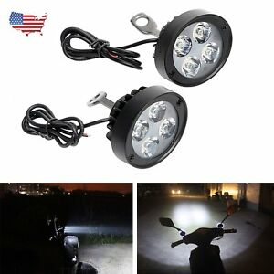 2x Motorcycle 4 Led Front Headlight Spot Fog Lights Head Lamp 12v Bike 10w Us