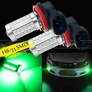 2x H8 H11 Green 33smd 5730chip Led Lens Bulbs For Auto Car Driving Fog Lights