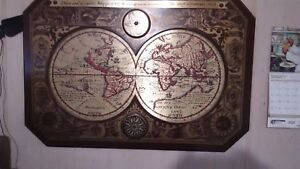 1964 Masketeers Large Metal And Wood Map Of The World In 1628 Looks Good