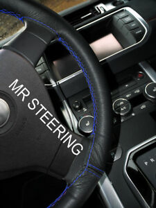 Black Leather Steering Wheel Cover For Lexus Gs Mk3 2005 11 R Blue Double Stitch