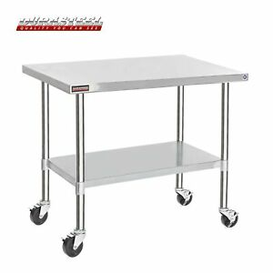 Durasteel Stainless Steel Work Table 30 X 60 X 34 Height W 4 Caster Wheel