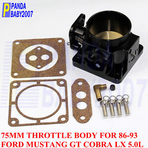 Billet 75mm 2 95 Throttle Body For 1986 1993 Ford Mustang Gt Cobra Lx 5 0l Bk