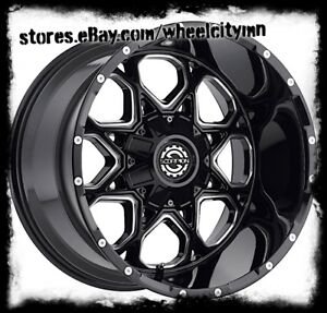 20 X14 Inch Gloss Black Milled Scorpion Sc10 Wheels Rims Ford F150 6x135 76