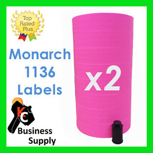 Monarch 1136 Pink Price Gun Labels 2 Sleeves Quality Made In Usa Ink Included